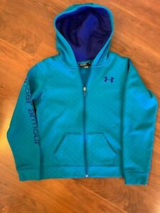 Under Armour Youth Girls Full Zip Long Sleeve Hoodie Turquoise Size Large