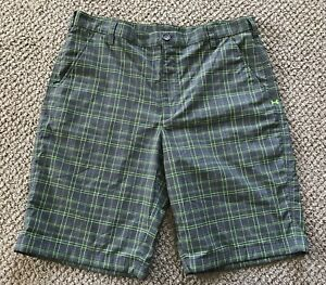 Mens Under Armour Gray Plaid Golf Shorts Size 38