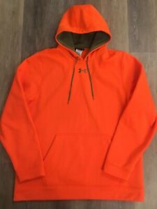 Mens Under Armour Hunting UA Storm Fleece Hoodie Safety Blaze Orange XL SOLD OUT