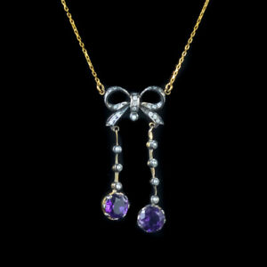AMETHYST DIAMOND PENDANT NECKLACE SILVER 18CT GOLD CHAIN