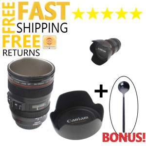 Travel Coffee Cup Mug With Lid Zoom Lens Camera Stainless Steel Cup Drinks NEW