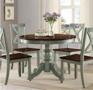 Round Pedestal Dining Table Set 4 Chairs Brown Green Solid Wood Kitchen 42