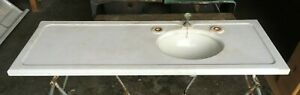Large 55x20 Antique Marble Bath Sink Oval Viterous China Basin Old Vtg 177-19E