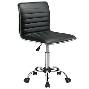 Low Back Designer Armless Desk Chair Ribbed Swivel Task Chair with Wheels Black