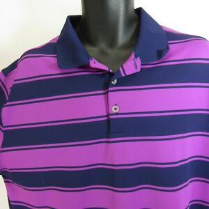 Nike Golf Polo Shirt Men's Size XL Purple Athletic Striped Extra Large Dri-Fit