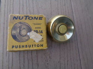 Vintage NuTone PB-14 Pushbutton Gold Anodized Doorbell Button non-lighted In Box