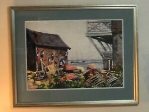 Vtg Original signed Joseph Newman watercolor painting Lobster shack Rockport
