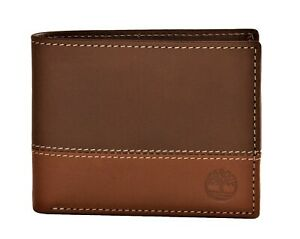 Timberland Men#x27;s Commuter Leather Bifold Wallet Brown Tan