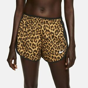 Nike Womens Tempo Running Shorts Brown Animal Print Active Wear BV2957-723