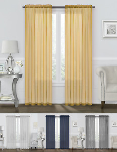 Basic 2 Pack Sheer Voile Home Window Curtains - Assorted Colors