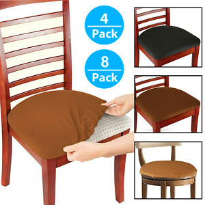 Set of 4/8 Stretch Removable Washable Dining Room Chair Seat Cover Slipcover