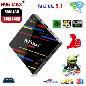 Smart TV BOX H96MAX+ 4+64G Android 8.1 Quad Core 4K WIFI RK3328 Media Player NEW