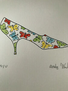 Andy Warhol Watercolour Painting Original Shoe Signed