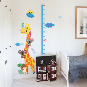 animal giraffe removable height chart wall sticker kid's growth chart wall-de WU
