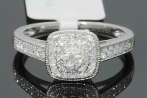 10K SOLID WHITE GOLD .54 CT REAL DIAMOND WOMEN BRIDAL WEDDING ENGAGEMENT RING