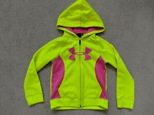 GIRLS UNDER ARMOUR SWEATSHIRT ZIP HOODIE NEON YELLOW PINK SIZE XS