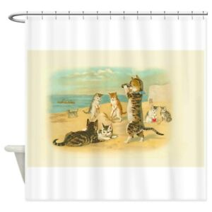 CafePress Cute Vintage Cats On The Beach Shower Curtain (953815053)