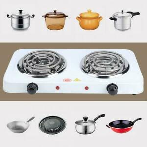 2000w Electric Double Burner Hot Plate Heating Cooking Stove Portable Dorm