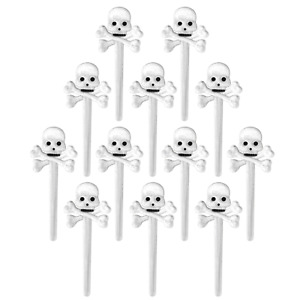 24pc Skull and Crossbones Cupcake Toppers Classroom Halloween Party Food Picks