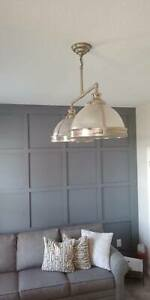 "Restoration Hardware CLEMSON Prismatic 14"" Double Pendant in Nickel Plated"