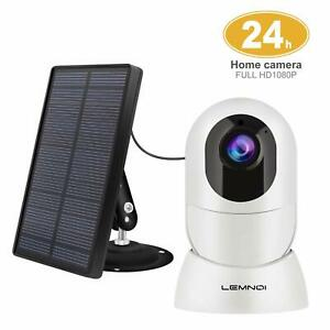 Wireless Rechargeable Battery Security Camera + Solar Panel 1080p HD OutdoorIn