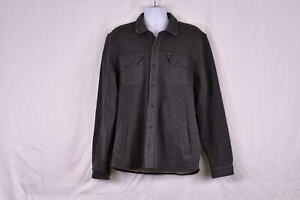 Men's Tailor Vintage Button up Fleece Lined Layering Over Shirt, Grey