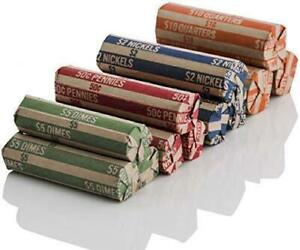 J Mark 100 Count Assorted Flat Coin Roll Wrappers, 25 Each of Quarter, Penny, Ni
