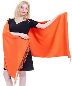 CJ Apparel Orange Thick Solid Color Design Cotton Blend Shawl Seconds Scarf NEW $16.99