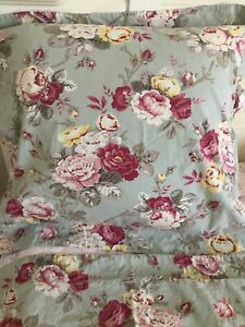 Pottery Barn Cottage Floral Euro Sham Sage Green Pre Owned EUC