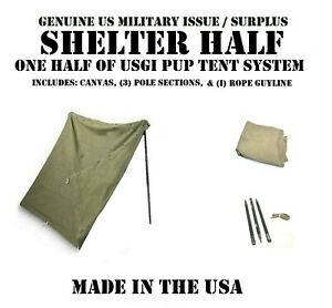 US MILITARY ISSUE SHELTER 12 PUP TENT SYSTEM 1 HALF POLES CANVAS USGI NO STAKES
