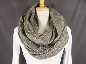 Grey Cream scarf 2tone super soft knit circle infinity endless loop textured $27.99