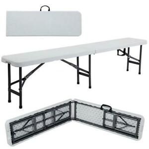 6' Portable Plastic InOutdoor Picnic Party Camping Dining Folding Bench Off-whi