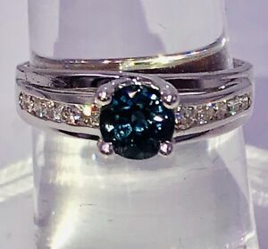 WONDERFUL NATURAL BLUE SPINEL AND DIAMOND ENGAGEMENT WEDDING RING 14K WG LK !