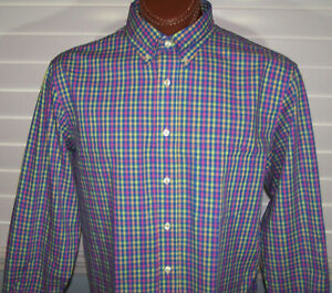 Donald Ross long sleeve Dress Shirt Sz L Spearmint-Navy--Citrus-Multi
