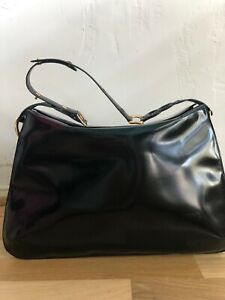CHRISTIAN LACROIX PARIS Large Black Leather Bag Designer Chic