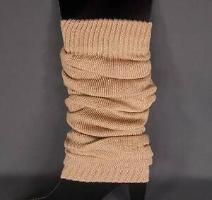 Camel knit leg warmers knee thigh high under tall long boot cuffs welly liners $11.99