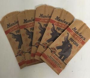 MANLEY THEATER 5 POCORN BAGS  1940's Vintage Antique Advertising Vending Machine