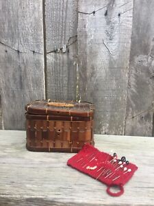 "Vintage Small Sewing Wood Slat Basket w Sewing Needles amp; Hat Pins 1900""s $14.00"