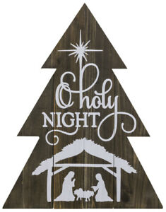 New Primitive Rustic WOODEN CHRISTMAS TREE NATIVITY O HOLY NIGHT SIGN Hanging