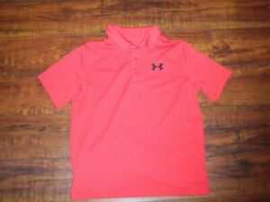 Youth Under Armour Heat Gear Loose Fit Golf Polo Shirt Red Sz YLG 1214 Large