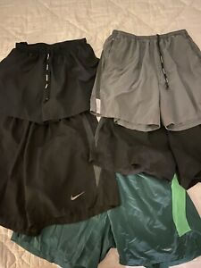 5 Pairs Mens Large Nike Running Shorts Dri Fit Under Armour Black Grey and Green
