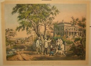 Antique CURRIER & IVES American Country Life OCTOBER AFTERNOON Palmer Lithograph