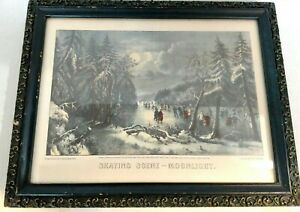 Currier & Ives Print Skating Scene 'Moonlight' Gray Blue Lithograph Winter Scene