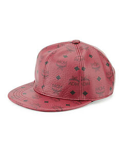100% AUTHENTIC NEW MCM RED LEATHER VISETOS BASEBALL CAPHAT