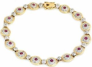 1.40ctw Diamond amp; Ruby Bracelet Solid Yellow Gold