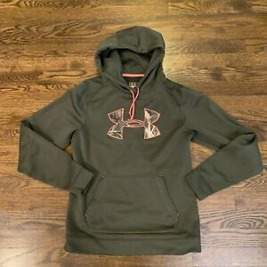 UNDER ARMOUR Women's Soft Polyester PINK CAMO BIG LOGO Hoodie Green Size MD $14.99
