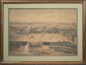 Rare Antique French Lithograph quot;Paris Vue du Place de la Concordequot; Louvre 19th $625.00