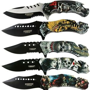 Print Handle Spring Assisted Pocket Knife Folding Tactical Open Serrate Blade