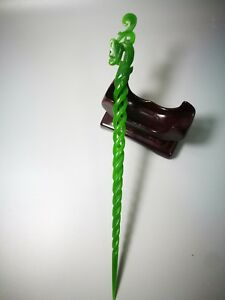 EXQUISITE CHINESE OLD HAND CARVING NATURAL GREEN JADE PHOENIX HAIRPIN $28.78