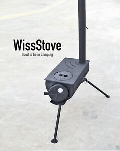 WissStove - Portable outdoor stainless steel camping wood tent stove with pipes